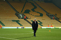 1st January 2020; Carrow Road, Norwich, Norfolk, England, English Premier League Football, Norwich versus Crystal Palace; Crystal Palace Manger Roy Hodgson looks at the playing surface - Strictly Editorial Use Only. No use with unauthorized audio, video, data, fixture lists, club/league logos or 'live' services. Online in-match use limited to 120 images, no video emulation. No use in betting, games or single club/league/player publications
