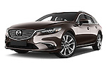 Stock pictures of low aggressive front three quarter view of 2015 Mazda Mazda 6 Skycruse 5 Door Wagon Low Aggressive