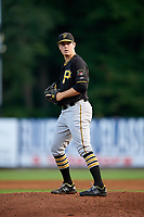 Bristol Pirates starting pitcher Colin Selby (49) gets ready to deliver a pitch during a game against the Bluefield Blue Jays on July 26, 2018 at Bowen Field in Bluefield, Virginia.  Bristol defeated Bluefield 7-6.  (Mike Janes/Four Seam Images)