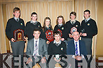 At the Gael Cola?iste, Moyderwell, Tralee, graduation and student award night last Friday in the Carlton hotel, Jonathon O? Duibhne, Camp (seated centre) was nominated Student of the Year, also seated in deputy principal Ruairi? O? Cinne?ide (left) and principal Austin O? Seachnasaigh. Other students who won awards are standing l-r: Rowan Copeland, Daithi? O? Fuara?in, Sadhbh Ni? Chaochlaoich, Orla Ni? Chonchu?ir, Niocla?s MacGearailt agus Gearo?id MacCarthaigh.