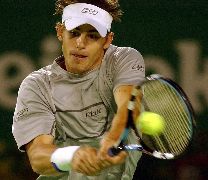 Australian Open Tennis 2003.24/01/2003.Andy Roddick v Rainer Schuettler.Andy Roddick
