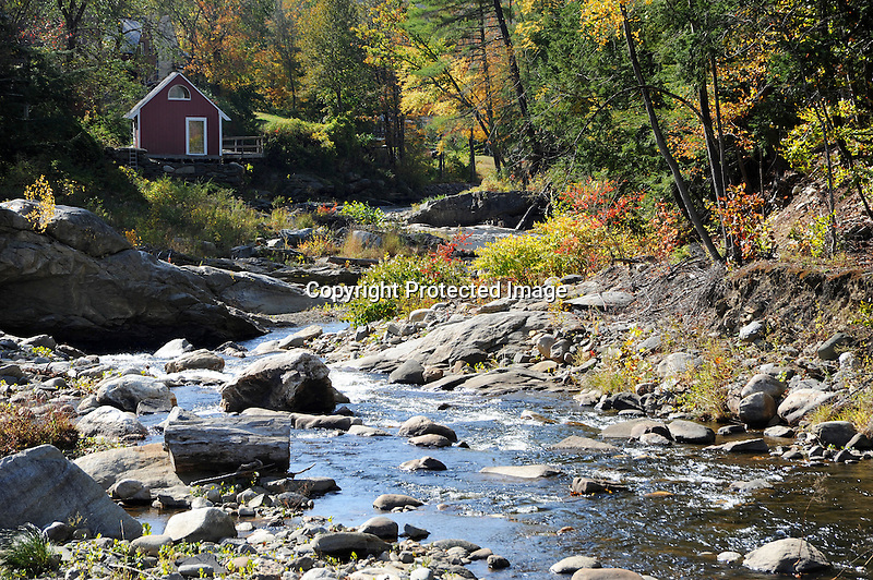 View of Cottage on the Cold River in Alstead, New Hampshire USA