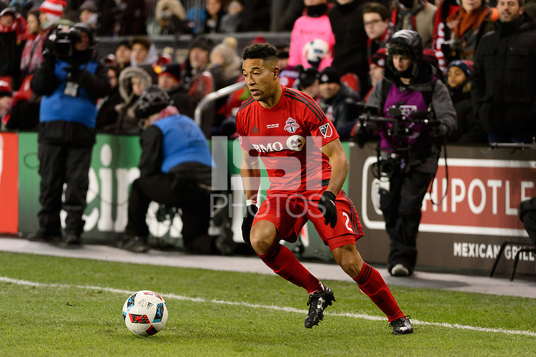 Toronto, ON, Canada - Saturday Dec. 10, 2016: Justin Morrow during the MLS Cup finals at BMO Field. The Seattle Sounders FC defeated Toronto FC on penalty kicks after playing a scoreless game.