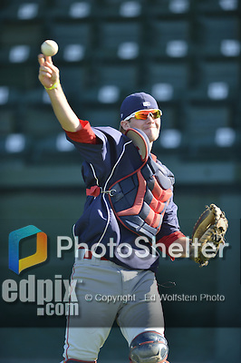 18 August 2012: Brooklyn Cyclones catcher Jeffrey Glenn warms up prior to a game against the Vermont Lake Monsters at Centennial Field in Burlington, Vermont. The Lake Monsters defeated the Cyclones 4-1 in NY Penn League action. Mandatory Credit: Ed Wolfstein Photo