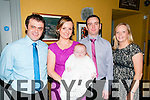 Baby Mark Kelly with his parents Olivia & John Kekky, Billeraugh, Listowel and god parents Eamonn Kelly & Brenda Kelliher who was christened at St. Mary's Church, Listowel by Canon Declan O'Connor on Saturday last and afterwards at Behan's Horseshoe Bar & Restuarant, Listowel.