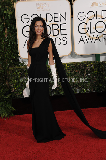 WWW.ACEPIXS.COM<br /> <br /> January 11 2015, LA<br /> <br /> Amal Alamuddin Clooney arriving at the 72nd Annual Golden Globe Awards at The Beverly Hilton Hotel on January 11, 2015 in Beverly Hills, California.<br /> <br /> <br /> By Line: Peter West/ACE Pictures<br /> <br /> <br /> ACE Pictures, Inc.<br /> tel: 646 769 0430<br /> Email: info@acepixs.com<br /> www.acepixs.com