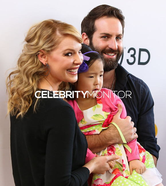 "LOS ANGELES, CA - JANUARY 11: Actress Katherine Heigl, daughter Nancy Leigh Kelley and husband Josh Kelley at the World Premiere Of Open Road Film's ""The Nut Job"" held at Regal Cinemas L.A. Live on January 11, 2014 in Los Angeles, California. (Photo by Xavier Collin/Celebrity Monitor)"