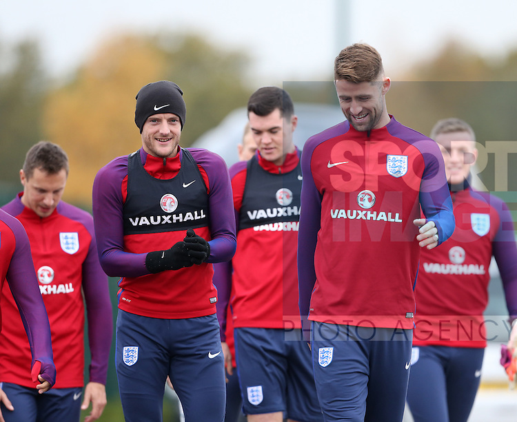 England's Jamie Vardy and Gary Cahill during training at Tottenham Hotspur training centre, London. Picture date November 14th, 2016 Pic David Klein/Sportimage