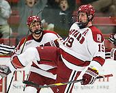 Alex Killorn (Harvard - 19) (Fallstrom) celebrates his goal. - The Harvard University Crimson defeated the University of New Hampshire Wildcats 7-6 on Tuesday, November 22, 2011, at Bright Hockey Center in Cambridge, Massachusetts.