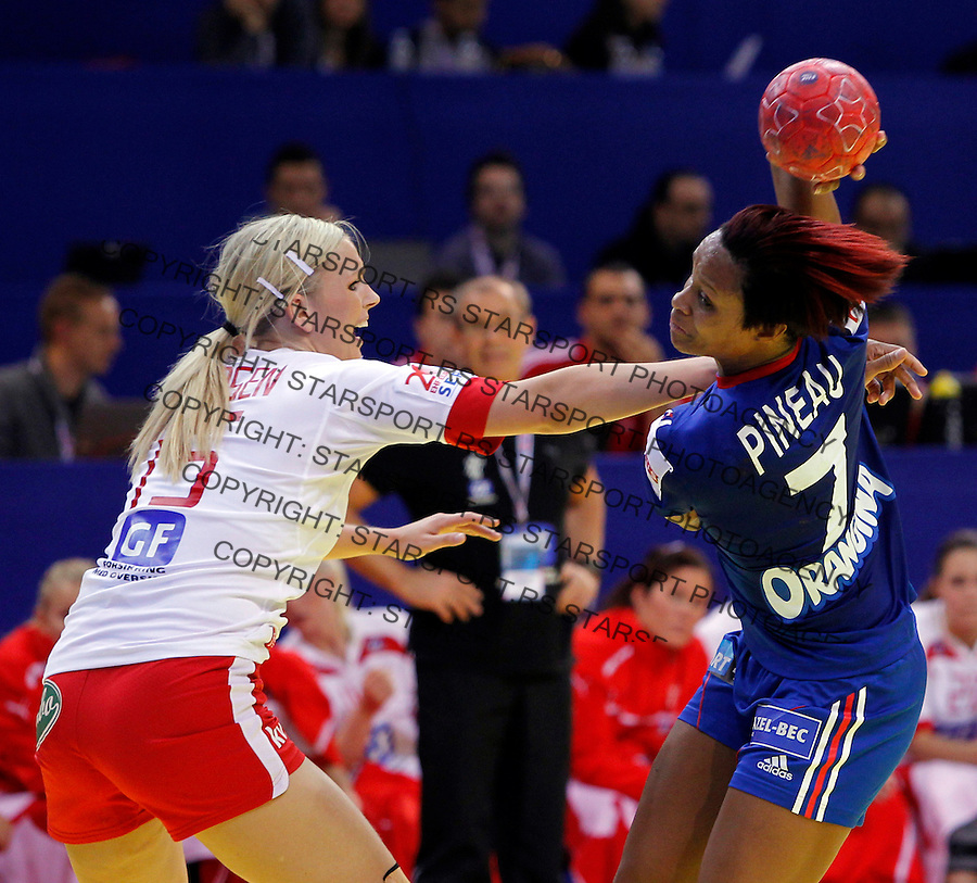 NIS, SERBIA 6/12/2012/ Allison Pineau in action during Women`s European Handball Championship EHF EURO 2012 match between Denmark and France in Cair arena in city of Nis in southern Serbia on  December 6, 2012 Credit: PEDJA MILOSAVLJEVIC/SIPA/