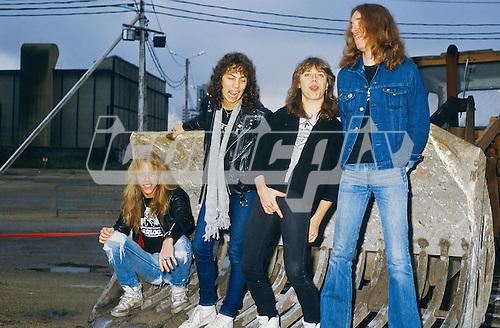 METALLICA - L-R: James Hetfield, Kirk Hammett, Lars Ulrich, Cliff Burton - Photosession in Paris - 18 Nov 1984.  Photo credit: Marc Villalonga/Dalle/IconicPix **AVAILABLE FOR UK ONLY**