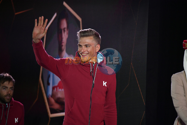 Marcel Kittel (GER) Team Katusha Alpecin on stage at the inaugural UAE Tour 2019 opening ceremony and team presentation held in the Louvre Abu Dhabi, United Arab Emirates. 23rd February 2019.<br /> Picture: LaPresse/Massimo Paolone  | Cyclefile<br /> <br /> <br /> All photos usage must carry mandatory copyright credit (© Cyclefile | LaPresse/Massimo Paolone)