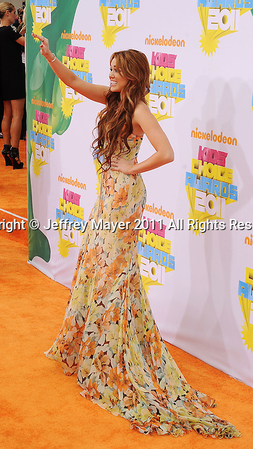 LOS ANGELES, CA - APRIL 02: Miley Cyrus arrives at Nickelodeon's 24th Annual Kids' Choice Awards at Galen Center on April 2, 2011 in Los Angeles, California.