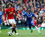 Marouane Fellaini of Manchester United in a action with Ngolo Kante of Chelsea during the English Premier League match at Old Trafford Stadium, Manchester. Picture date: April 16th 2017. Pic credit should read: Simon Bellis/Sportimage