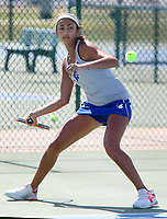 NWA Democrat-Gazette/DAVID GOTTSCHALK  Rogers High School's Erica Jaggernauth competes Friday, October 6, 2017, in the 7A-West Conference tennis tournament at Springdale Har-Ber High School tennis courts in Springdale. Jaggernauth was playing against Fayetteville High School's Mary Houston.
