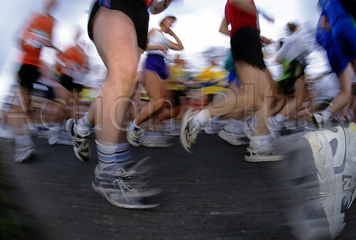 26.04.1998. London England. Running Effect at the Flora London Marathon,