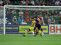 7th February 2020; HBF Park, Perth, Western Australia, Australia; A League Football, Perth Glory versus Wellington Phoenix; Nicholas D'Agostino of the Perth Glory has his shot blocked by Cameron Devlin of Wellington Phoenix