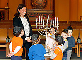 Rabbi Lauren Holtzblatt talks with preschoolers about lighting the menorah the day before Hanukkah starts at the Adas Israel Congregation on Friday, December 23, 2016 in Washington, DC. <br /> Credit: Edward Le Poulin via CNP