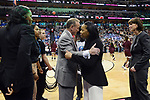 DALLAS, TX - APRIL 2: Head Coach Vic Schaefer for the Mississippi State Lady Bulldogs talks with Head Coach Dawn Staley for the South Carolina Gamecocks during the 2017 Women's Final Four at American Airlines Center on April 2, 2017 in Dallas, Texas. (Photo by Evert Nelson/NCAA Photos via Getty Images)