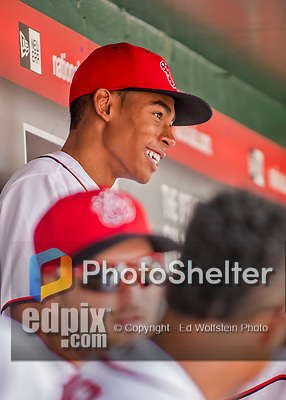 8 July 2017: Washington Nationals Manager Dusty Baker's son Darren Baker sits in the dugout prior to a game against the Atlanta Braves at Nationals Park in Washington, DC. The Braves shut out the Nationals 13-0 to take the third game of their 4-game series. Mandatory Credit: Ed Wolfstein Photo *** RAW (NEF) Image File Available ***