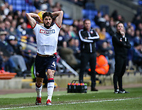 Bolton Wanderers' Jason Lowe taking a throw in  <br /> <br /> Photographer Andrew Kearns/CameraSport<br /> <br /> The EFL Sky Bet Championship - Bolton Wanderers v Norwich City - Saturday 16th February 2019 - University of Bolton Stadium - Bolton<br /> <br /> World Copyright © 2019 CameraSport. All rights reserved. 43 Linden Ave. Countesthorpe. Leicester. England. LE8 5PG - Tel: +44 (0) 116 277 4147 - admin@camerasport.com - www.camerasport.com