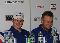 Paul Dunne and Tyrrell Hatton (Team Europe) during a post match interview after winning the Eurasia Cup at Glenmarie Golf and Country Club on the Sunday 14th January 2018.<br /> Picture:  Thos Caffrey / www.golffile.ie