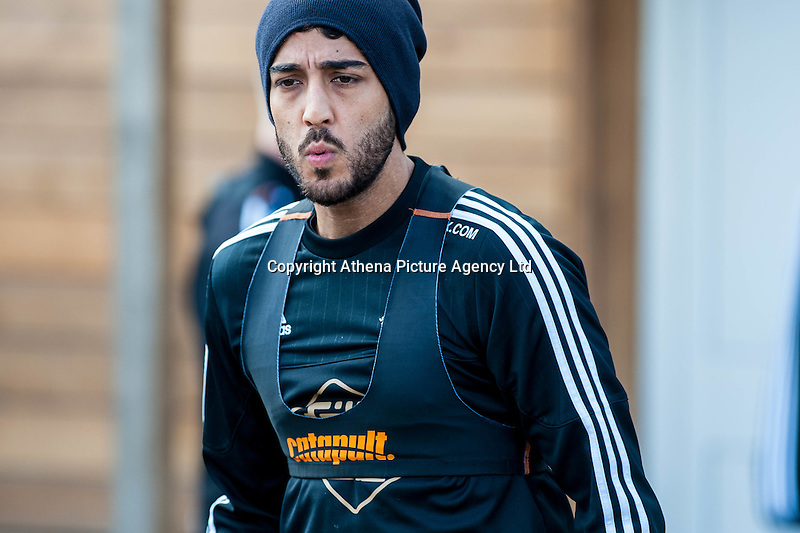 Wednesday  27 April 2016<br /> Pictured: Neil Taylor of Swansea City in action during training<br /> Re: Swansea City Training Session at the Fairwood Ground, Swansea, Wales, UK