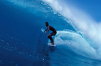 USA, Hawaii, surfer in tube.