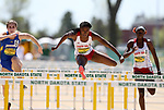 FARGO, ND - MAY 13: Shanice Cannigan from the University of South Dakota clears a hurdle to the finish line in the women's 100 meter hurdle finals Saturday at the 2017 Summit League Outdoor Track Championship at the Ellig Sports Complex in Fargo, ND. (Photo by Dave Eggen/Inertia)