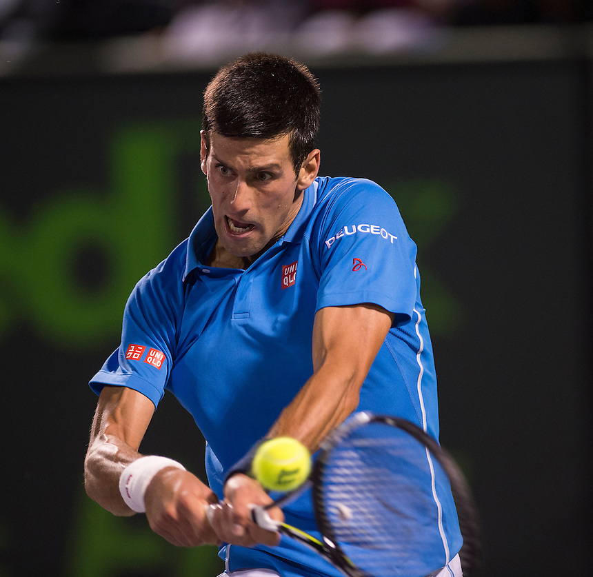 Novak Djokovic (SRB) in action during his victory over David Ferrer in their Men's Singles Quarterfinal match today - Novak Djokovic (SRB) def David Ferrer (ESP) 7-5 7-5<br /> <br /> Photographer Andrew Patron - CameraSport/BigShots<br /> <br /> Tennis - 2015 Miami Open presented by Itau - Crandon Park Tennis Center - Key Biscayne, Florida - USA - Day 11, Thursday 2nd April 2015<br /> <br /> &copy; CameraSport - 43 Linden Ave. Countesthorpe. Leicester. England. LE8 5PG - Tel: +44 (0) 116 277 4147 - admin@camerasport.com - www.camerasport.com