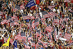 11 September 2012: U.S. fans celebrate a goal. The United States Men's National Team played the Jamaica Men's National Team at Columbus Crew Stadium in Columbus, Ohio in a CONCACAF Third Round World Cup Qualifying match for the FIFA 2014 Brazil World Cup. The U.S. won the game 1-0.