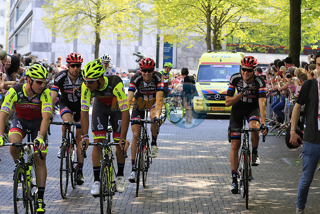 Riders arrive at sign on before the start of Stage 2 of the 2016 Giro d'Italia running 190km from Arnhem to Nijmegen, The Nethrerlands. 7th May 2016.<br /> Picture: Eoin Clarke | Newsfile<br /> <br /> <br /> All photos usage must carry mandatory copyright credit (&copy; Newsfile | Eoin Clarke)