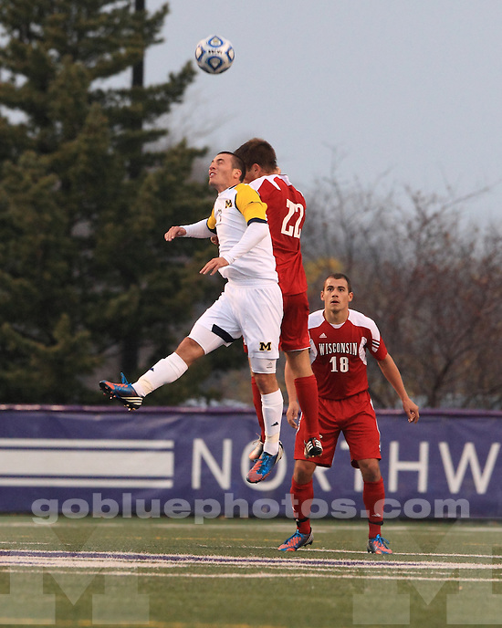The University of Michigan men's soccer team beat Wisconsin, 1-0, in the opener of the 2012 Big Ten  Tournament at Lakeside Field, in Evanston, Ill., on November 7, 2012.