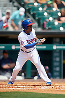 Buffalo Bisons shortstop Gift Ngoepe (11) squares around to bunt during a game against the Pawtucket Red Sox on June 28, 2018 at Coca-Cola Field in Buffalo, New York.  Buffalo defeated Pawtucket 8-1.  (Mike Janes/Four Seam Images)