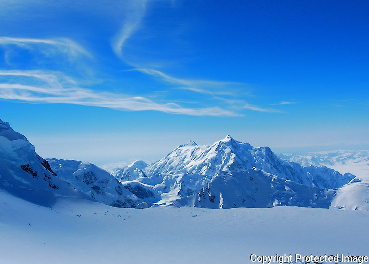 Mount Hunter and the 14,200-foot camp on Denali's West Buttress, Alaska Range.