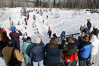 Spectators cheer on Brennan Nordan on the bike trail near the Native Hospital in mid-town Anchorage during the ceremonial start of the 2011 Iditarod