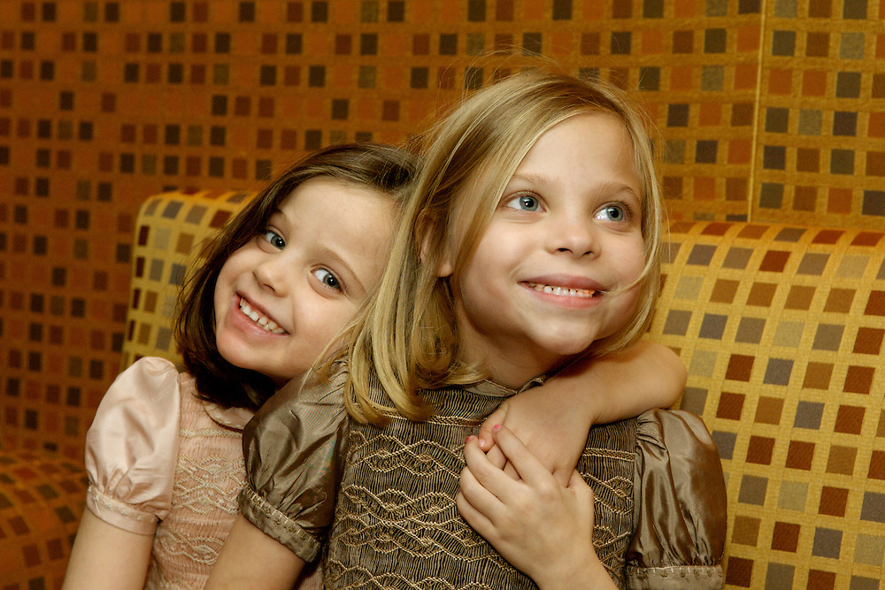 Sisters photographed at a Bat Mitzvah party, The Rainbow Room, NYC