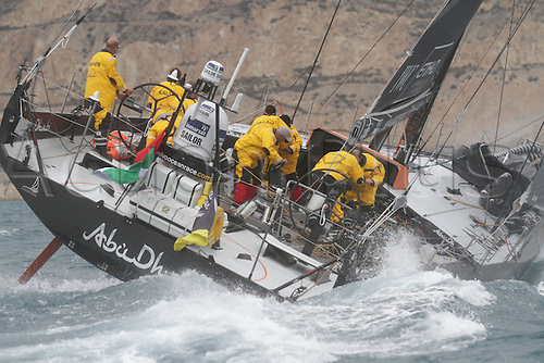 05.11.2011 Alicante, Spain.  Abu Dhabi heelig over as the team race to mark five at the start of the Volvo Ocean Race, Alicnate, Spain.