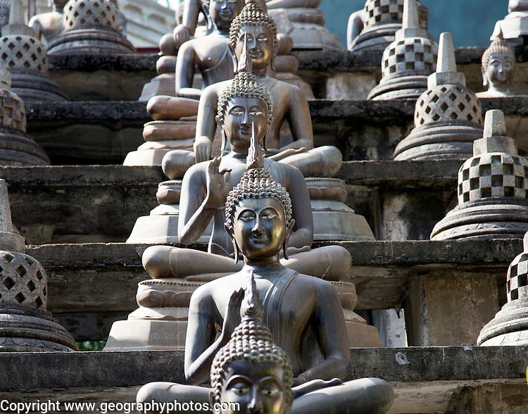 Buddha statues at Gangaramaya Temple, Colombo, Sri Lanka,
