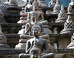 Buddha statues at Gangaramaya Temple, Colombo, Sri Lanka,