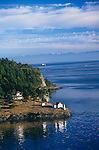 San Juan Island, WA<br /> Aerial  view of the San Juan Islands, Turn Point Lighthouse on Stuart Island