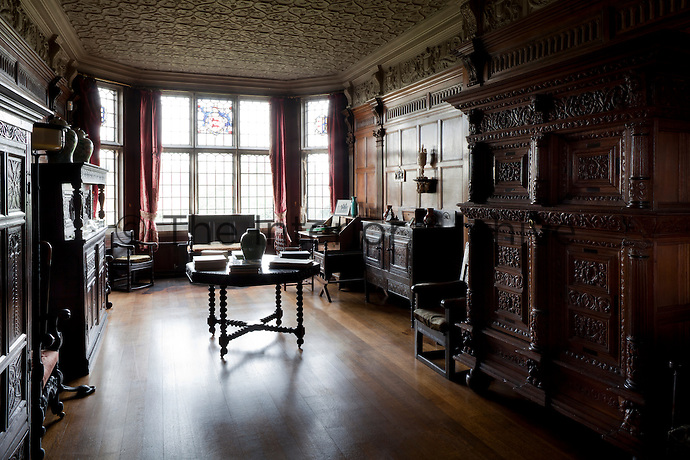 Heavy oak, Tudor furniture in the Tudor long gallery