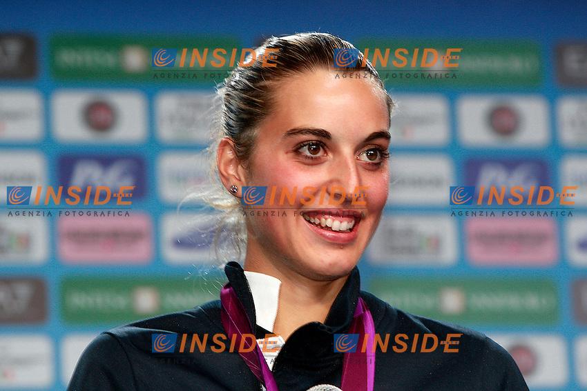 Londra 04/08/2012 Casa Italia al Queen Elizabeth Centre..Olimpiadi Londra 2012..Jessica Rossi con la medaglia d'oro vinta nella gara di tiro a volo...Foto Insidefoto Paolo Nucci..