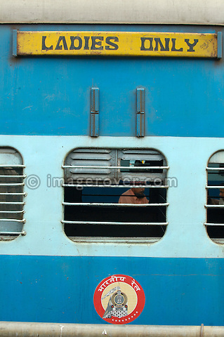 India, Kerala, Ernakulum. Ladies only train carriage at Ernakulum railway station.