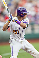 LSU Tigers third baseman Conner Hale (20) at bat against the TCU Horned Frogs in the NCAA College World Series on June 14, 2015 at TD Ameritrade Park in Omaha, Nebraska. TCU defeated LSU 10-3. (Andrew Woolley/Four Seam Images)