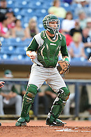 Fort Wayne TinCaps catcher Ryan Miller (20) checks the runner during a game against the Lake County Captains on August 21, 2014 at Classic Park in Eastlake, Ohio.  Lake County defeated Fort Wayne 7-8.  (Mike Janes/Four Seam Images)