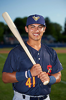 State College Spikes catcher Jeremy Martinez (41) poses for a photo before a game against the Batavia Muckdogs on June 24, 2016 at Dwyer Stadium in Batavia, New York.  State College defeated Batavia 10-3.  (Mike Janes/Four Seam Images)