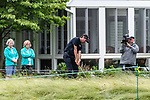 CROMWELL, CT. 20 June 2019-062019 - PGA Tour player Bubba Watson hits his second shot from almost someones backyard on the the ninth hole, his 18th hole for the day, during the first round of the Travelers Championship at TPC River Highlands in Cromwell on Thursday. Bill Shettle Republican-American
