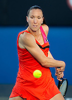 JELENA JANKOVIC (SRB) against LAURA ROBSON (GBR) in the first round of the Women's Singles. Jelena Jankovic beat Laura Robson 6-2 6-0...16/01/2012, 16th January 2012, 16.01.2012..The Australian Open, Melbourne Park, Melbourne,Victoria, Australia.@AMN IMAGES, Frey, Advantage Media Network, 30, Cleveland Street, London, W1T 4JD .Tel - +44 208 947 0100..email - mfrey@advantagemedianet.com..www.amnimages.photoshelter.com.