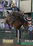 Stetson Wright rides in the Saddle Bronc Riding event during the Reno Rodeo on Sunday, June 23, 2019.